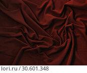 Купить «Wavy texture of deep red fleece», фото № 30601348, снято 5 апреля 2019 г. (c) EugeneSergeev / Фотобанк Лори