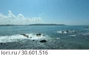 Купить «Sea waves depart from the coast - Panorama, Camera rotation. Indian Ocean, Hikkaduwa; Sri Lanka», видеоролик № 30601516, снято 26 марта 2019 г. (c) Некрасов Андрей / Фотобанк Лори