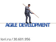 Купить «Agile transformation concept with businessman walking on tight r», фото № 30601956, снято 2 июня 2020 г. (c) Elnur / Фотобанк Лори