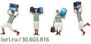 Купить «Young man with heavy suitcases isolated on white», фото № 30603816, снято 24 апреля 2019 г. (c) Elnur / Фотобанк Лори