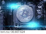 Купить «Bitcoin composition.Silver bitcoin and electronic computer components,business concept of bitcoin digital cryptocurrency», фото № 30607624, снято 4 апреля 2019 г. (c) Зезелина Марина / Фотобанк Лори
