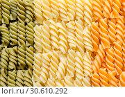 Купить «Fusilli pasta italian flag», фото № 30610292, снято 28 июля 2013 г. (c) easy Fotostock / Фотобанк Лори