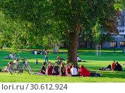 Компания молодых людей отдыхает в популярном парке Бурггартен в солнечный сентябрьский день, Вена, Австрия (2018 год). Редакционное фото, фотограф Ольга Коцюба / Фотобанк Лори