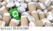 Купить «Recycling sign on one of the heap of many empty paper coffee cups.», фото № 30616080, снято 15 сентября 2019 г. (c) Maksym Yemelyanov / Фотобанк Лори