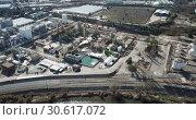 Купить «Aerial panoramic view of large vinyl producer - chemical plant at Martorell, included in INOVYN group», видеоролик № 30617072, снято 5 марта 2019 г. (c) Яков Филимонов / Фотобанк Лори