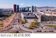 Aerial view square of the Europe at Gran Via district. Barcelona, Catalonia (2019 год). Стоковое фото, фотограф Яков Филимонов / Фотобанк Лори