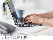 Купить «hands typing on laptop computer at office», фото № 30619404, снято 9 марта 2017 г. (c) Syda Productions / Фотобанк Лори