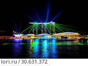 Купить «Singapore city at night with laser show.», фото № 30631372, снято 12 августа 2017 г. (c) easy Fotostock / Фотобанк Лори