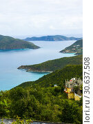 Купить «Smuggler's Cove Tortola is the largest of the British Virgin Islands in the Caribbean. It features several white-sand beaches, including Cane Garden Bay...», фото № 30637508, снято 20 января 2019 г. (c) age Fotostock / Фотобанк Лори