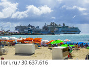 Купить «A cruise ship destination in the caribbean Philipsburg is the main town and capital of the country of Saint Sint Maarten. The town is situated on a A narrow...», фото № 30637616, снято 23 января 2019 г. (c) age Fotostock / Фотобанк Лори