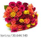 Купить «Large beautiful bouquet of roses isolated on white background», фото № 30644140, снято 30 ноября 2014 г. (c) Ласточкин Евгений / Фотобанк Лори