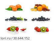 Купить «Ripe berries and fruits on a white background», фото № 30644152, снято 19 мая 2014 г. (c) Ласточкин Евгений / Фотобанк Лори