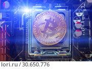 Купить «Silver bitcoin coin. Bitcoin cryptocurrency. Blockchain technology, bitcoin mining and digital cryptocurrency concept», фото № 30650776, снято 4 апреля 2019 г. (c) Зезелина Марина / Фотобанк Лори