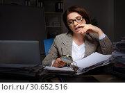 Купить «Female employee suffering from excessive work», фото № 30652516, снято 14 ноября 2018 г. (c) Elnur / Фотобанк Лори