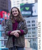 Купить «Portrait of a young woman smiling, Times Square, Midtown Manhattan, New York City, New York State, USA», фото № 30653676, снято 29 января 2020 г. (c) Ingram Publishing / Фотобанк Лори