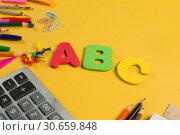 Купить «Different Color School Stationery Supply Copy Space», фото № 30659848, снято 23 февраля 2019 г. (c) Иван Карпов / Фотобанк Лори