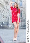 Купить «close-up portrait of young slim adult girl in sexy evening apparel», фото № 30665420, снято 24 июня 2017 г. (c) Яков Филимонов / Фотобанк Лори