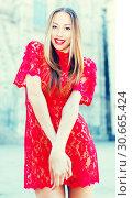 Купить «close-up portrait of young slim adult girl in sexy evening apparel», фото № 30665424, снято 24 июня 2017 г. (c) Яков Филимонов / Фотобанк Лори