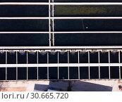 Купить «Top view of opened pools in trout fish farm», фото № 30665720, снято 19 марта 2019 г. (c) Яков Филимонов / Фотобанк Лори