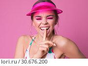 Купить «Portrait of an emotional girl in a cap visor.», фото № 30676200, снято 12 апреля 2019 г. (c) Женя Канашкин / Фотобанк Лори