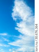 Купить «Cloudy sky background with blue dramatic colorful clouds», фото № 30676364, снято 12 августа 2018 г. (c) Зезелина Марина / Фотобанк Лори