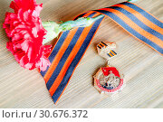 Купить «9 May background with medal of Great patriotic war, red carnation and George ribbon», фото № 30676372, снято 3 апреля 2017 г. (c) Зезелина Марина / Фотобанк Лори