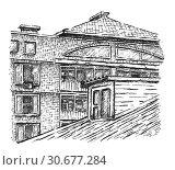 Купить «Dormer window. Sketch.», иллюстрация № 30677284 (c) Любовь Назарова / Фотобанк Лори