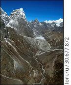 Купить «NEPAL Chola Valley -- 16 Apr 2005 -- A panorama of peaks dominate the somewhat Martian landscape of the Chola Valley, off the main Khumbu Glacier. The...», фото № 30677872, снято 4 июля 2020 г. (c) age Fotostock / Фотобанк Лори