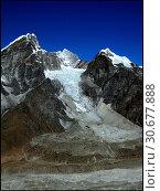 Купить «NEPAL Lobuche Glacier -- 16 Apr 2005 -- The small village of Lobuche (bottom left), dwarfed by the Lobuche Glacier (center), off the main Khumbu Glacier...», фото № 30677888, снято 4 июля 2020 г. (c) age Fotostock / Фотобанк Лори