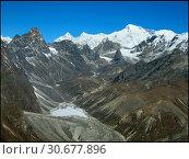 Купить «NEPAL Chola Valley -- 16 Apr 2005 -- A panorama of peaks dominate the somewhat Martian landscape of the Chola Valley, off the main Khumbu Glacier. The...», фото № 30677896, снято 4 июля 2020 г. (c) age Fotostock / Фотобанк Лори