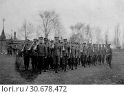 Купить «CANADA Ottowa -- Circa 1915 -- Men of the 38th Battalion of the Canadian Army - Company Inspection before going overseas for deployment during World War I -- Picture by Atlas Photo Archive.», фото № 30678472, снято 22 мая 2019 г. (c) age Fotostock / Фотобанк Лори