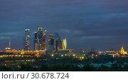 Купить «Time lapse of day to night transition over Moscow», видеоролик № 30678724, снято 24 апреля 2019 г. (c) Sergey Borisov / Фотобанк Лори