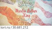 Купить «Composite image of happy martin luther king day, god bless america», фото № 30681212, снято 10 июля 2020 г. (c) Wavebreak Media / Фотобанк Лори