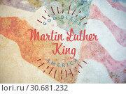 Купить «Composite image of happy martin luther king day, god bless america», фото № 30681232, снято 10 июля 2020 г. (c) Wavebreak Media / Фотобанк Лори