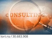 Купить «Magnifying glass showing consulting word», фото № 30683908, снято 24 мая 2019 г. (c) Wavebreak Media / Фотобанк Лори