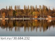 Купить «Москва, Измайловский парк. Круглый пруд и лодочная станция», эксклюзивное фото № 30684232, снято 21 апреля 2019 г. (c) Alexei Tavix / Фотобанк Лори