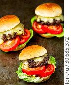 Купить «Rustic american slider sandwich mini hamburger», фото № 30685372, снято 19 ноября 2017 г. (c) easy Fotostock / Фотобанк Лори