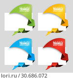 Купить «Triangular origami angle speech bubble. Origami dialogue banner for your message. Special offer. Discount tag, badge, emblem. Web stickers. Price tag template for catalog with space for text», иллюстрация № 30686072 (c) Dmitry Domashenko / Фотобанк Лори