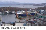 Купить «Круизный лайнер Celebrity Millennium в морском порту. Time lapse», видеоролик № 30688544, снято 2 мая 2019 г. (c) А. А. Пирагис / Фотобанк Лори