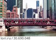 Купить «Chicago downtown bridges metro train and river», фото № 30690048, снято 23 апреля 2018 г. (c) Сергей Новиков / Фотобанк Лори