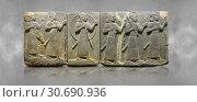 Купить «Hittite relief sculpted orthostat stone panel of Royal Buttress Basalt, Karkamıs, (Kargamıs), Carchemish (Karkemish), 900-700 B. C. Warriors. Anatolian...», фото № 30690936, снято 3 июля 2018 г. (c) age Fotostock / Фотобанк Лори