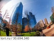 La Defense business district at sunny day, Paris. Стоковое фото, фотограф Сергей Новиков / Фотобанк Лори