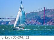 Yacht sailing at the San Francisco bay, USA (2015 год). Стоковое фото, фотограф Сергей Новиков / Фотобанк Лори