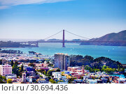 San Francisco bay and Golden Gate Bridge, USA (2015 год). Стоковое фото, фотограф Сергей Новиков / Фотобанк Лори