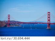 San Francisco bay with the Golden Gate bridge (2015 год). Стоковое фото, фотограф Сергей Новиков / Фотобанк Лори