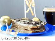 Купить «Кусок торта и кофе», фото № 30696404, снято 2 декабря 2018 г. (c) Ed_Z / Фотобанк Лори