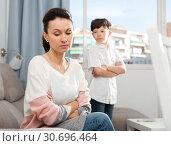 Купить «Offended mother after disagreements with son», фото № 30696464, снято 28 марта 2019 г. (c) Яков Филимонов / Фотобанк Лори