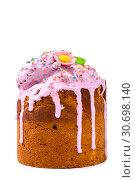 Купить «Пасхальный кулич домашней выпечки на белом фоне», фото № 30698140, снято 27 апреля 2019 г. (c) V.Ivantsov / Фотобанк Лори