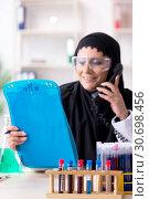 Купить «Female chemist in hijab working in the lab», фото № 30698456, снято 20 февраля 2019 г. (c) Elnur / Фотобанк Лори