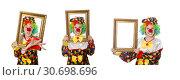 Купить «Funny clown girl with frame isolated on white», фото № 30698696, снято 13 мая 2015 г. (c) Elnur / Фотобанк Лори